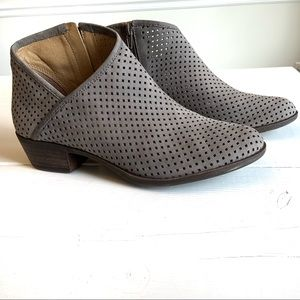 LUCKY BRAND gray suede perforated boots